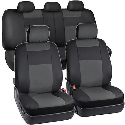 - Synthetic Leather Car Seat Covers - Black/Charcoal Gray Full Set Protection