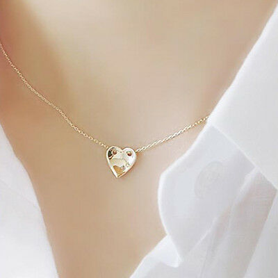 "TPD 14K Yellow Gold Beauty Heart Pendant 16.5"" Chain Necklace w/ Diamond 0.01ct"