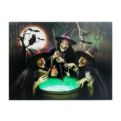 Led Canvas Wall Art Halloween (HALLOWEEN WITCHES LED AND SOUND CANVAS WALL ART 20