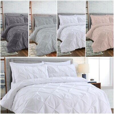 100% EGYPTIAN COTTON PINCH PLEATED PINTUCK BEDDING DUVET COVER SET DOUBLE KING