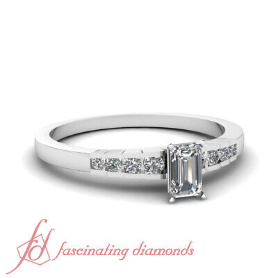 Channel Set Womens Gold Engagement Ring 0.80 Ct Emerald Cut Diamond SI2 14K GIA