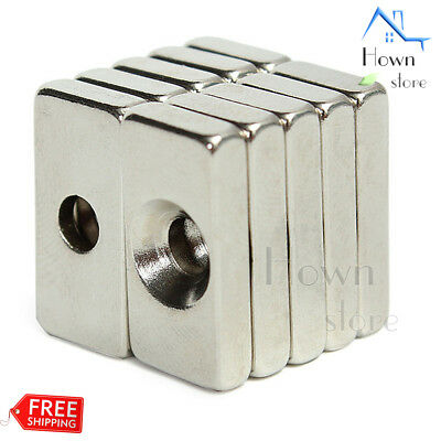 N52 Magnet Block Neodymium Iron Boron Hole 4mm Rectangle Rare Earth Nib Neo 10pc