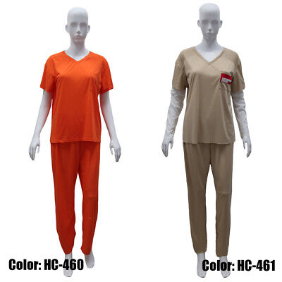 Women Prisoner Costume Orange Khaki Halloween Cosplay Prison Convict Shirt Pants (Prisoner Halloween Costume Women)