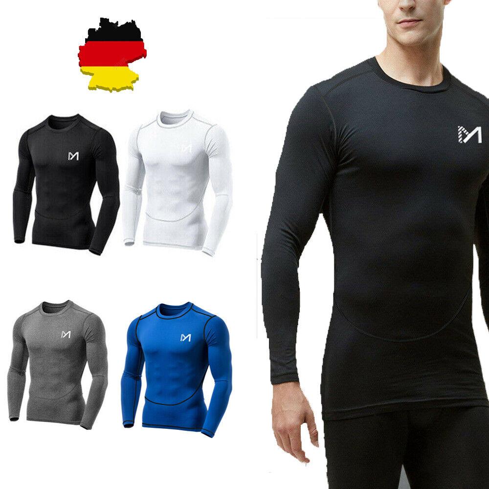 Herren Sport Kompressions Shirt Langarm Funktionsshirt Laufshirt Tights T-Shirt