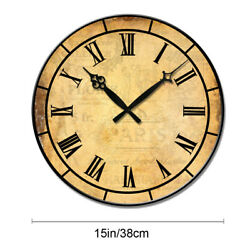 Wooden Wall Clock Home Room Decor Retro Vintage 15 Large Clocks Silence Living