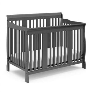 Used Storkcraft Tuscany 4-In-1 Convertible Crib, Gray Condtion: Used, Some demages, please refer to images
