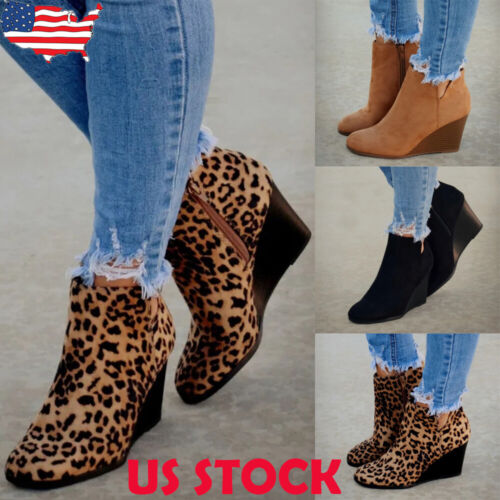 Fashion Women High Wedge Heel Ankle Boots Ladies Casual Roun