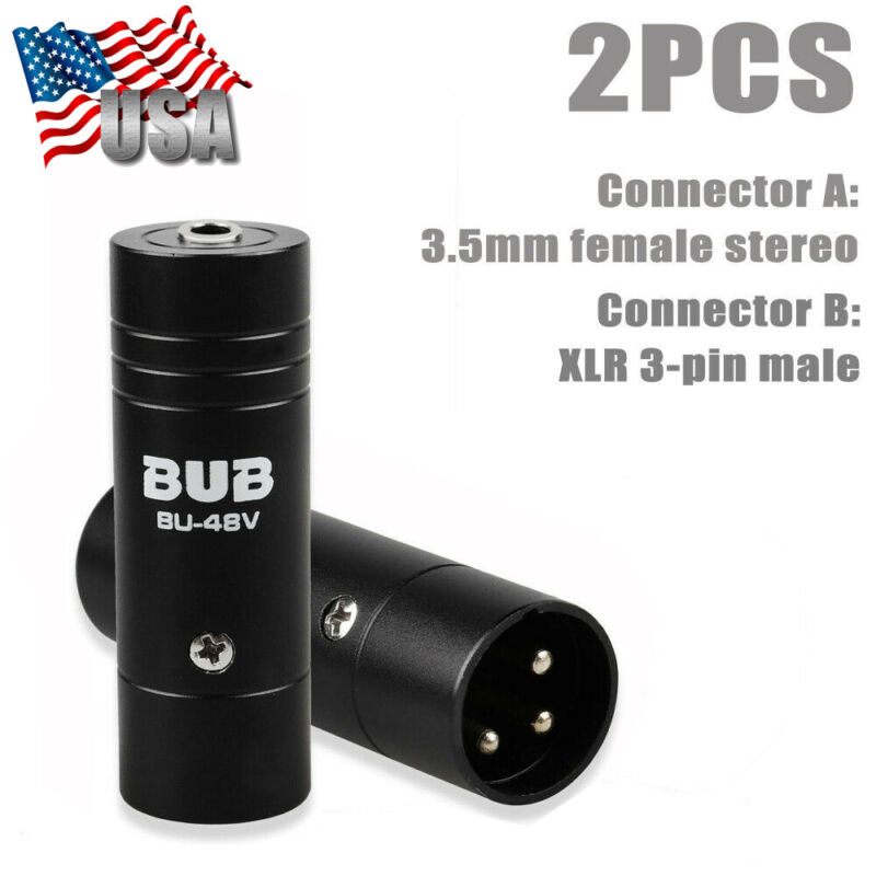 2Pcs 3 Pin XLR Male Adapter Connector to 1/8 inch 3.5mm Female Stereo Adaptor