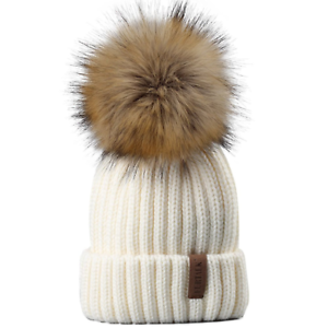 Buy Kids Winter Knitted Pom Beanie Bobble Hat Faux Fur Ball Cap ... f84c6adf238
