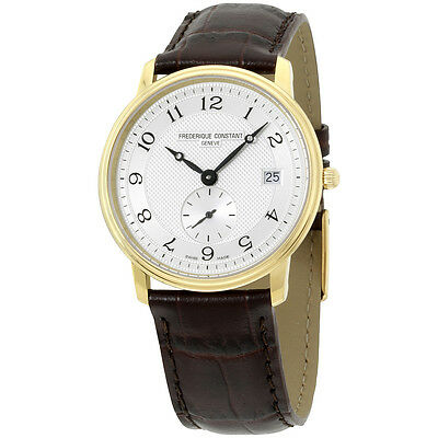 Frederique Constant Men's FC-245AS4S5 Slim Line Dark Brown Leather Strap Watch