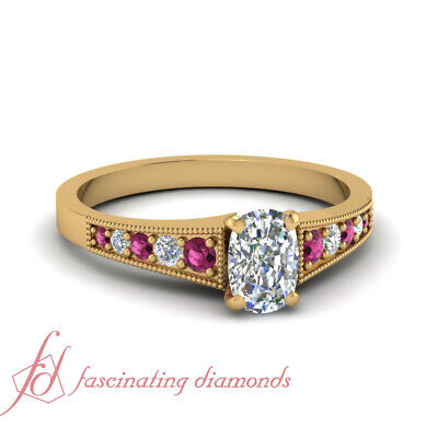 3/4 Karat Cushion Cut Diamond Simple Pave Engagement Ring With Pink Sapphire GIA