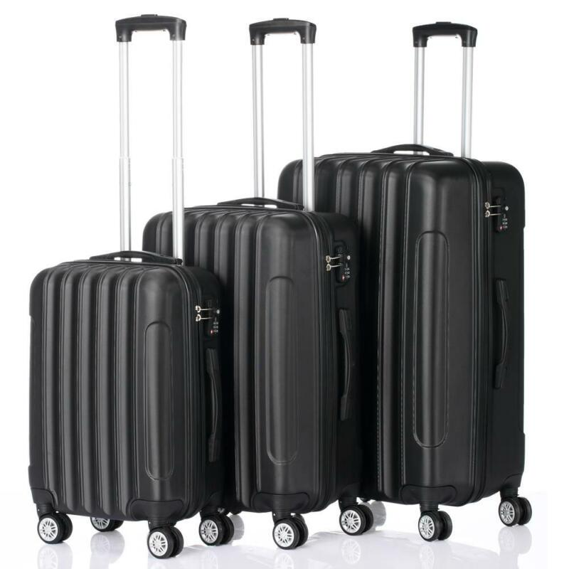 3 Pcs Luggage Travel Set Bag ABS Trolley Suitcase w/TSA Lock Black