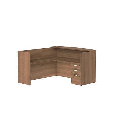 L Shape Single Pedestal Reception Desk In Park Walnut Finish With Glass Counter