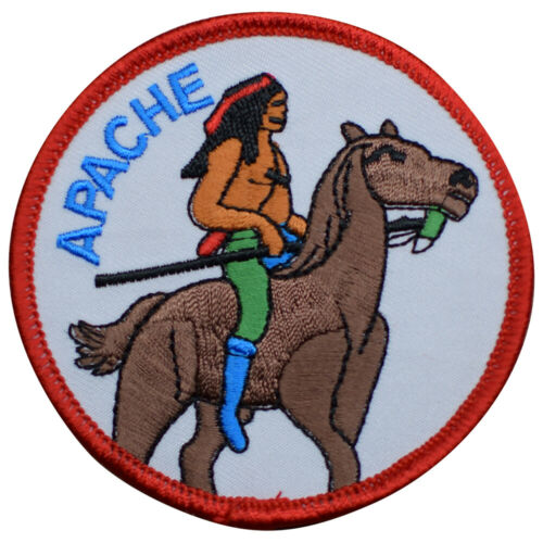 """Apache Patch - Horse, Warrior, North America 3"""" (Iron on)"""