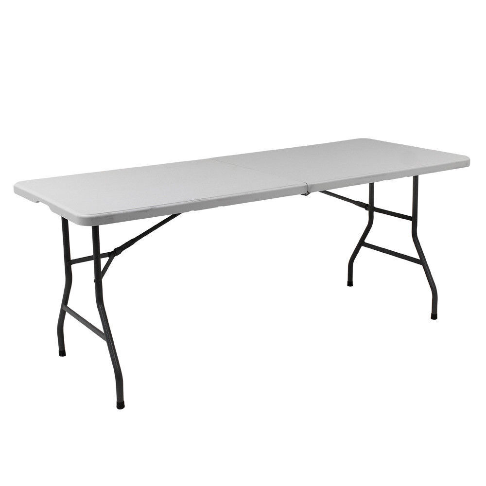 - 6FT HEAVY DUTY PLASTIC FOLDING TABLE OUTDOOR BANQUET TRESTLE PARTY