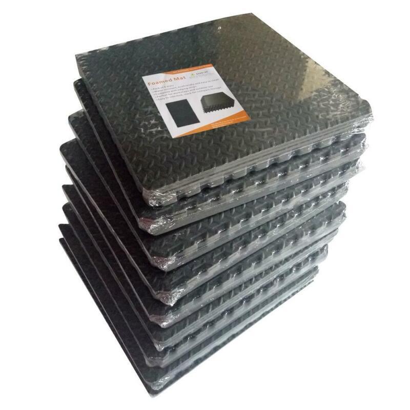 216 SqFt Floor Mat Exercise Gym Rubber Flooring Tiles Home Fitness Workout Mat