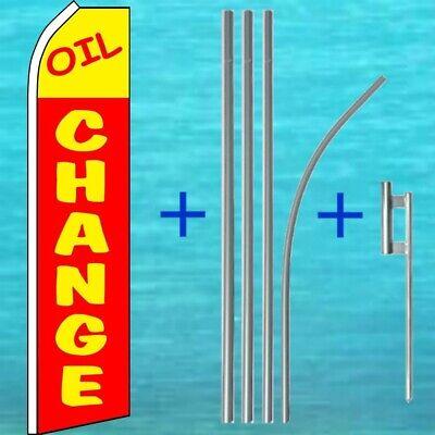 Oil Change Flutter Flag Pole Mount Kit Tall Feather Swooper Wind Banner Sign
