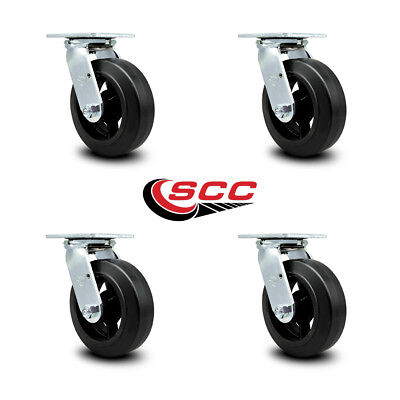 Scc 6 Rubber On Cast Iron Wheel Swivel Casters - Set Of 4