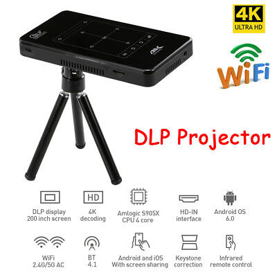 4K Smart DLP Mini Projector Android WiFi Bluetooth 8G Home Theater HD MI BT 4.1