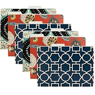 Dwell Studio 6 Pack Decorative File Folders Letter Size Colored Patterns Paper