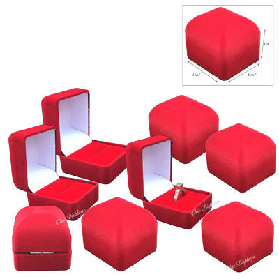 Lot Of 12 High Quality Velour Ring Gift Boxes Red Ring Boxes Red Jewelry Boxes
