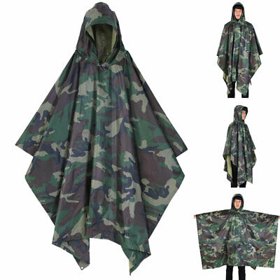 Multifunction Waterproof Hooded Rain Poncho Raincoat Ripstop
