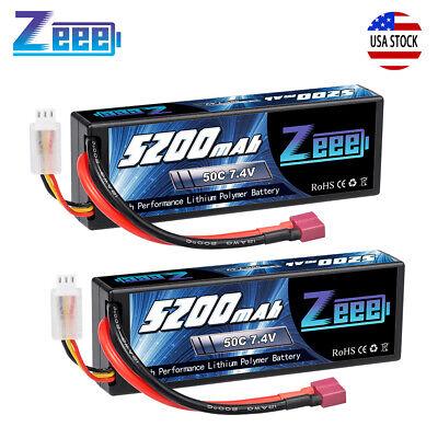 2pcs Zeee 5200mAh 50C 7.4V LiPo Battery 2S Deans Hardcase for RC Car Truck Boat
