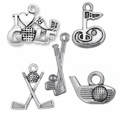 30Pcs I Love Golf Club Charms Stick And Ball Hole Wholesale Sports Jewelry Lot (Golf Charms)