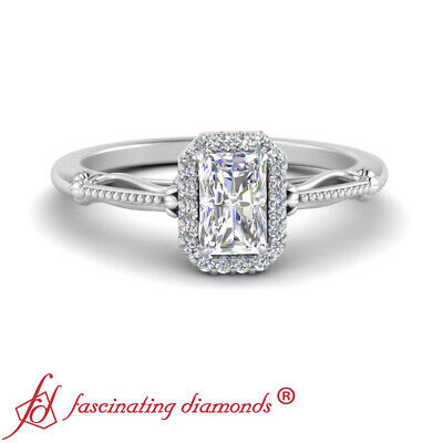 1 Carat Radiant Cut Diamond Halo Floral Shank Engagement Ring In 14K White Gold 1