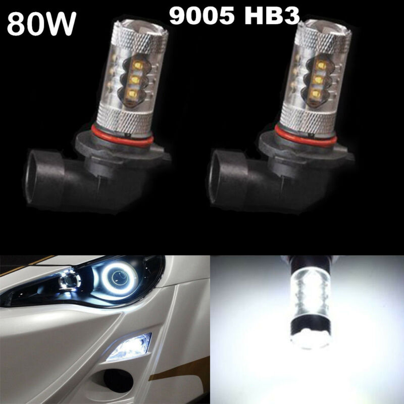 2x 9005 HB3 80W White Car Auto Fog DRL Daytime Running Driving Light Bulb 1920LM