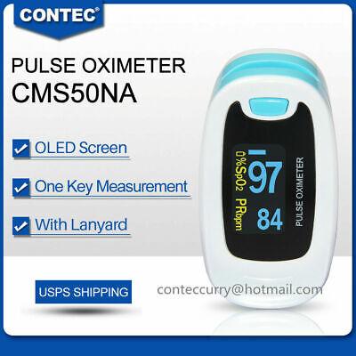 Finger Tip Pulse Oximeter Blood Oxygen Spo2 Pr Monitor Oled Cms50na Blue Usa Fda