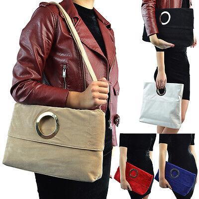 Faux Suede Tote Bag (Womens Clutch Shoulder Bag Faux Suede Top Handle Foldable Evening Tote Handbag)