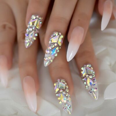 Women's Long Fake Nails Pre-Design Full Wrap Rhinestones Press On Nail For Girls](Nails For Girls)