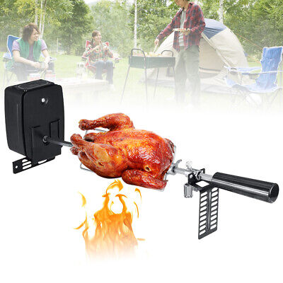 Portable Stainless Steel Rotisserie BBQ Motor Meat Fork Kits Spit Rod Grill