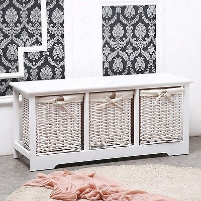 Modern 3 Drawer Wood White Shabby Chic Cupboard Cabinet Table with Wicker