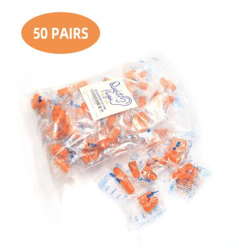 50 Pair Soft Foam Ear Plugs NRR 32DB For Sleeping Noise Cancelling Orange