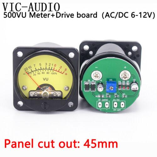 2PCS Panel Meter 500VU Yellow Backlight + 2PCS VU Meter Driver Board DC/AC 6-12