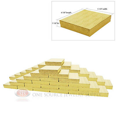 Large 50 Gold Foil Cotton Filled Jewelry Gift Boxes 6 18 X 5 18 X 1 18h
