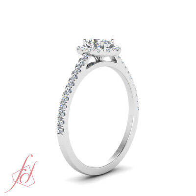 Oval Shaped Diamond Cathedral Style Halo Engagement Ring In White Gold 0.86 Ctw 2