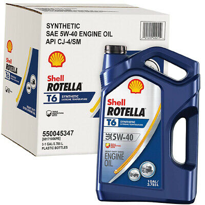 - Rotella T6 Synthetic Diesel Motor Oil 5W-40 CJ-4, 1 Gallon - Pack of 3