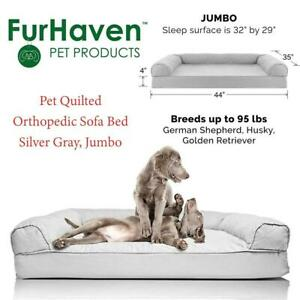 NEW Fur Haven 45501017 Pet Quilted Orthopedic Sofa Bed, Silver Gray, Jumbo Condtion: New, Silver Gray, Jumbo