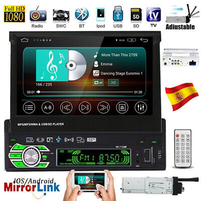 Bluetooth 1DIN 7'' Foldable Pantalla táctil Radio De Coche Estéreo MP5 Player...