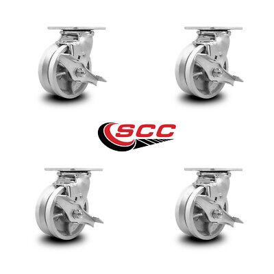 Scc 5 X 2 V Groove Semi Steel Wheel Swivel Casters Wbrakes - Set Of 4