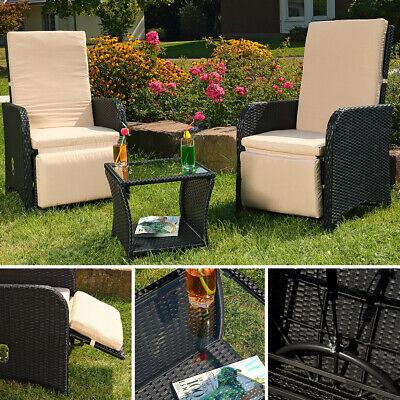 Polyrattan Gartenset 2 Sessel + Tisch schwarz Sitzgarnitur Gartenmöbel Stuhl