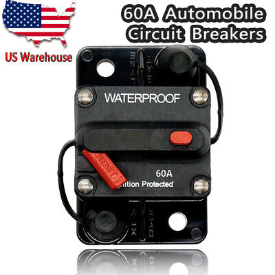 60A AMP Circuit Breaker 12-48V DC Boat Auto automatic Fuse Reset Waterproof