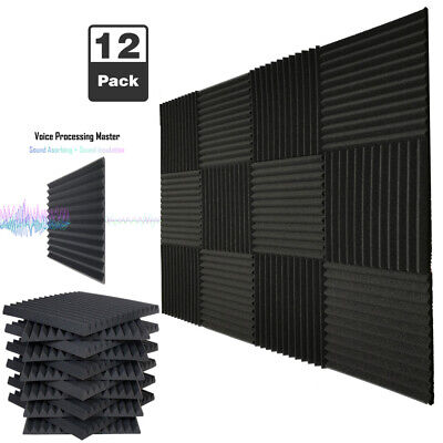 "12 Pack Acoustic Foam Soundproof Panels Studio Wedge Tiles Charcoal 1""x 12""x 12"""