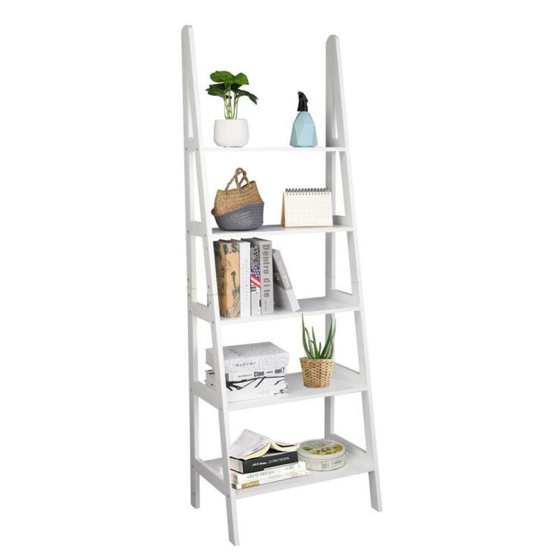 Ladder Shelf 5Tier Bookcase Bookshelf Home Office Storage Rack Shelf Plant Stand