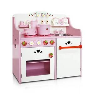 AUS FREE DEL-Colourful Wooden Kids Pretend Kitchen Play Set Pink Sydney City Inner Sydney Preview