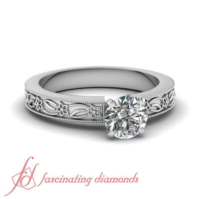 1 Carat Round Cut Untreated Diamond Floral Motif Solitaire Engagement Ring GIA