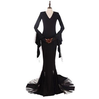 The Addams Family Morticia Addams Cosplay Costume dress custom made](Morticia Addams Dresses)